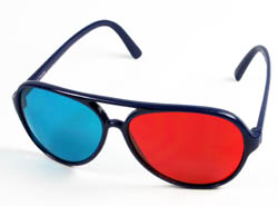 Red-cyan anaglyph glasses